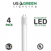 4 Pack T8 LED Tube Light Frosted 4ft 48 14 Watt 1800 Lumen 5000K Works With Existing Fluorescent Fixture Dual Ended Plug and Play UL DLC Certified