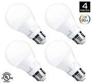 [60W Equivalent] Hyperikon 9W LED A19 - E26 Dimmable Bulb, 3000K (Soft White Glow), CRI90+, 800 Lumens, Medium Screw Base, 340° Omnidirectional, UL-Listed - (Pack of 4)