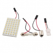 uxcell® White 48 LED Panel 3528 SMD Dome Light Lamp + T10 BA9S Festoon Adapter