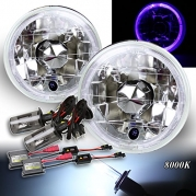 Blue LED Halo! 5.75 H5006 H5001 Clear Reflector Headlights H4 HID 8000K White